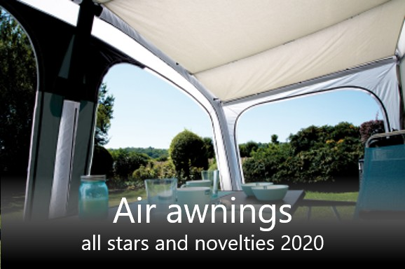 Awnings for caravans and camper vans with air pole technology